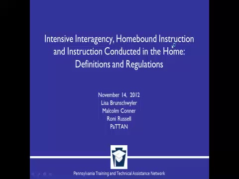 Intensive Interagency, Homebound Instruction and Instruction Conducted in the Home: Definitions and Regulations