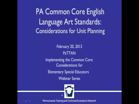 PA Common Core English Language Art Standards: Considerations for Unit Planning