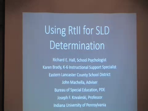 RtII Implementers Forum - Session 21: Using RtII For SLD Determination