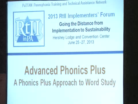 RtII Implementers Forum - Session 60: Advanced Phonics and Morphology
