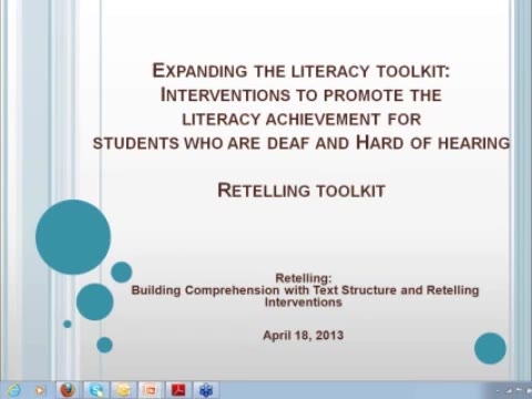 Expanding the Literacy Toolkit: Retelling Toolkit: Building Comprehension with Text Structure and Retelling Interventions