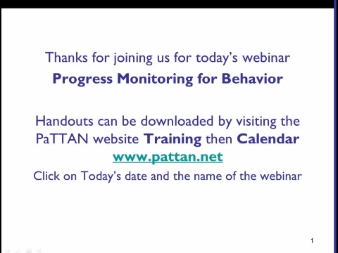 Progress Monitoring for Behavior
