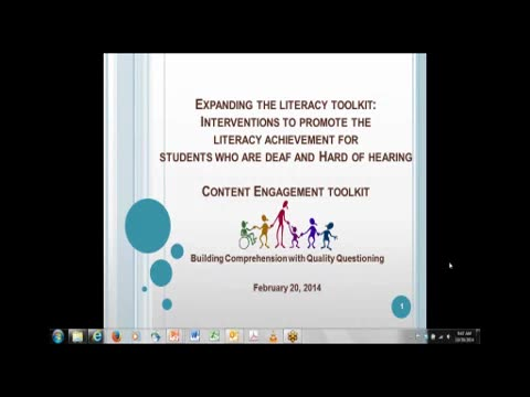 2013-2014 Expanding the Literacy Toolkit: Interventions for Students who are Deaf and Hard of Hearing: Content Engagement Toolkit: Building Comprehension with Quality Questioning
