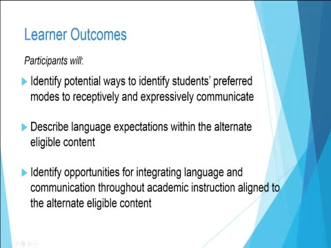 Increasing Academic Expectations with the Alternate Eligible Content: Increasing Communication/Language Expectations