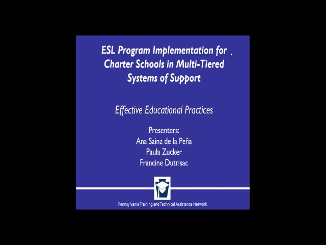 ESL Program Implementation for Charter Schools in Multi-tiered Systems of Support