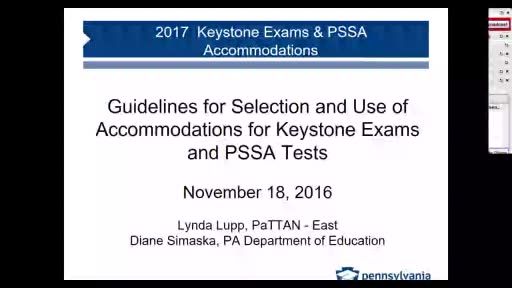 Keystone Exam Accommodation Guidelines for Students with Individualized Education Programs and 504 Plans