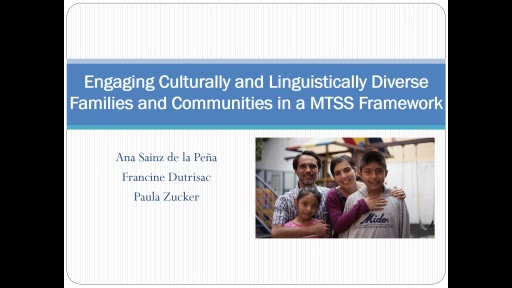 Engaging Culturally and Linguistically Diverse Families and Communities in a MTSS Framework