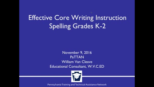 Effective Core Writing Instruction - Spelling Grades K-2