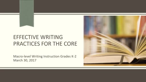 Effective Core Writing Instruction: The Writing Process Grades K-2