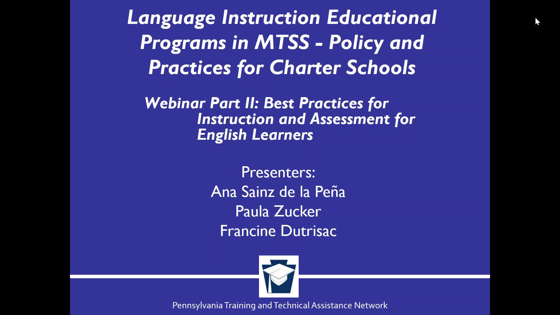 The Language Instruction Educational Programs in MTSS - Policy and Practices for Charter Schools