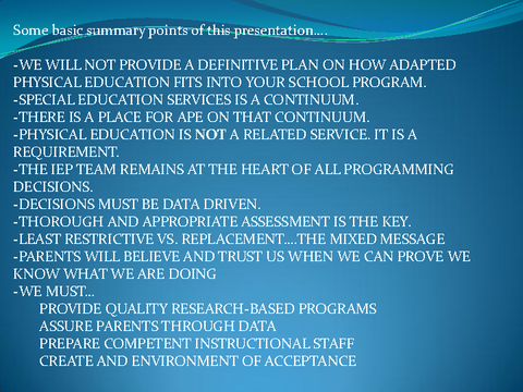 Some basic summary points of this presentation....