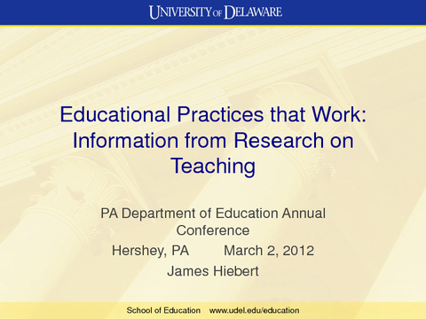 Educational Practices that Work: Information from Research on Teaching