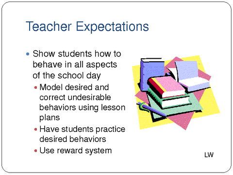 teacher expectations Becoming a high expectation teacher: raising the bar [christine rubie-davies] on amazoncom free shipping on qualifying offers we constantly hear cries from politicians for teachers to have high expectations but what this means in practical terms is never spelled out simply deciding that as a teacher you will expect all your students to.