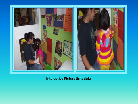 Interactive Picture Schedule [photographs: teacher with toddlers in classroom]