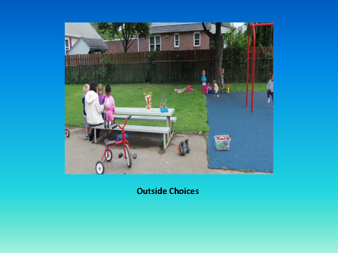 Outside Choices [photograph: toddlers on bench outside]