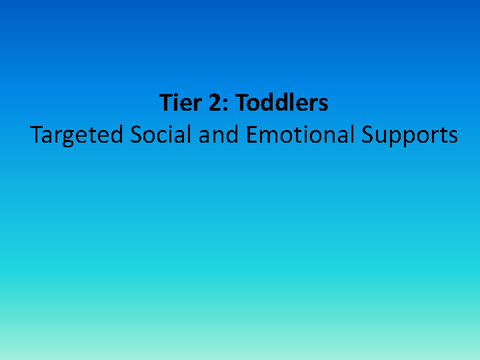 Tier 2: Toddlers Targeted Social and Emotional Supports
