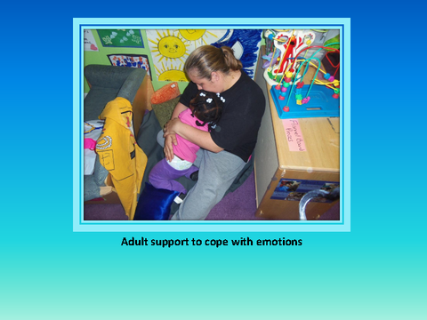 Adult support to cope with emotions [photograph: adult and toddler]