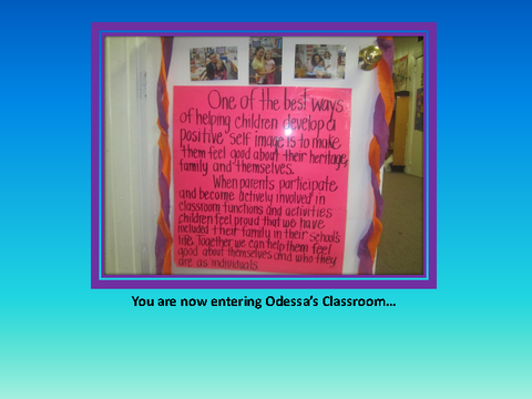 You are now entering Odessa's Classroom... [photograph: wall newspaper]