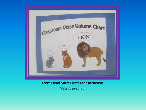 """From Head Start Center for Inclusion """"Voice Volume Chart"""""""