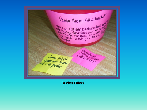 Bucket Fillers [photograph: bucket and sticky notes]