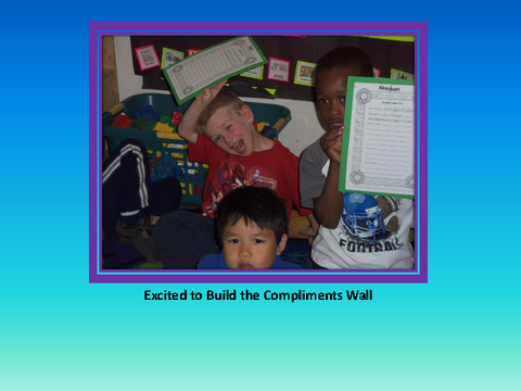 Excited to Build the Compliments Wall [photograph: children in class room]