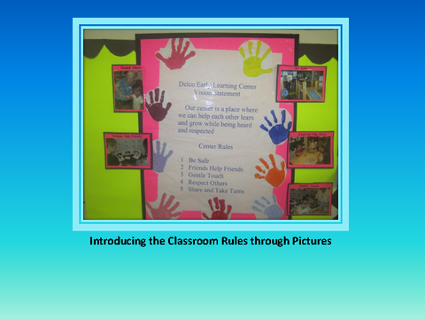 Introducing the Classroom Rules through Pictures [photograph: wall newspaper]