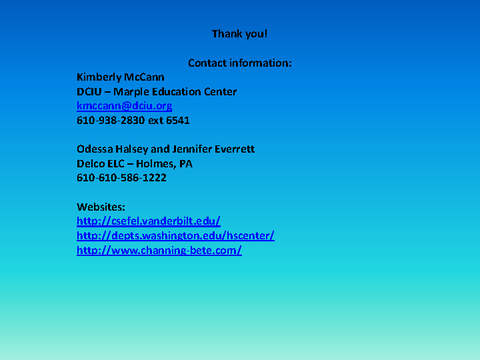 Thank you! Contact information Websites