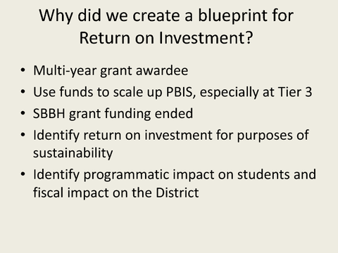 Why did we create a blueprint for Return on Investment?