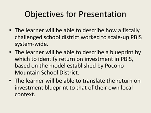 Objectives for Presentation