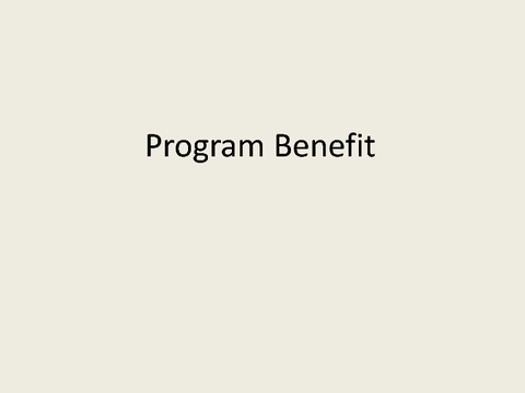 Program Benefit
