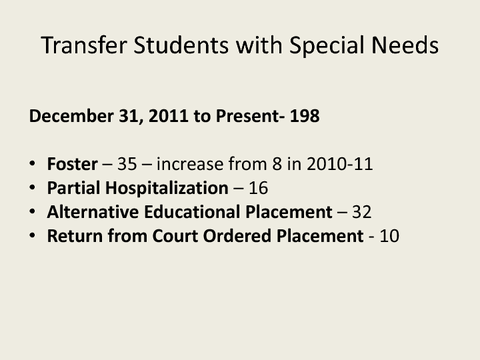 Transfer Students with Special Needs