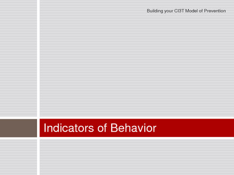 Building your CI3T Model of Prevention Indicators of Behavior