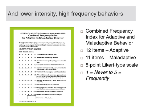 SSBD: Internalizing-Teacher rating for lower intensity, high frequency behaviors