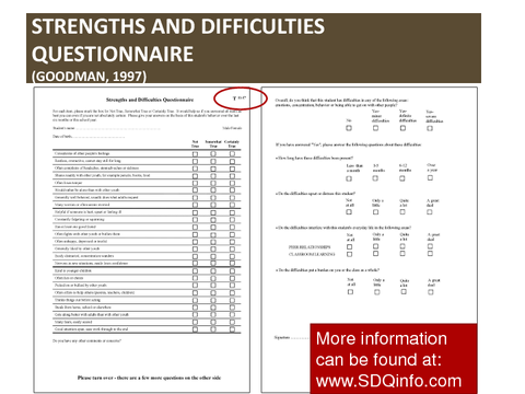 Strengths and Difficulties Questionnaire QUESTIONNAIRE (GOODMAN, 1997)