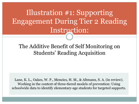 Illustration #1: Supporting Engagement During Tier 2 Reading
