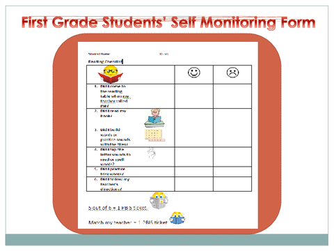 First Grade Students' Self Monitoring Form
