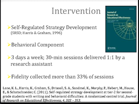 Intervention Self-Regulated Strategy Development Behavioral Component