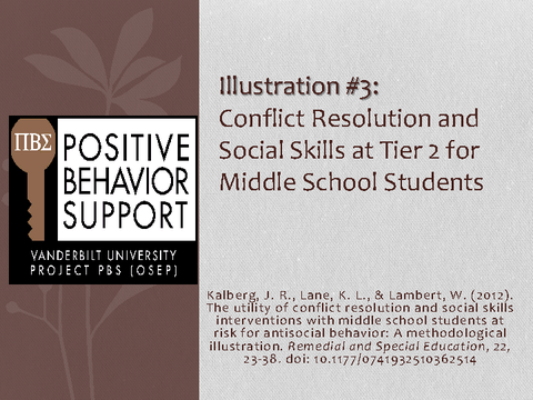 Conflict Resolution and Social Skills at Tier 2 for Middle School Students