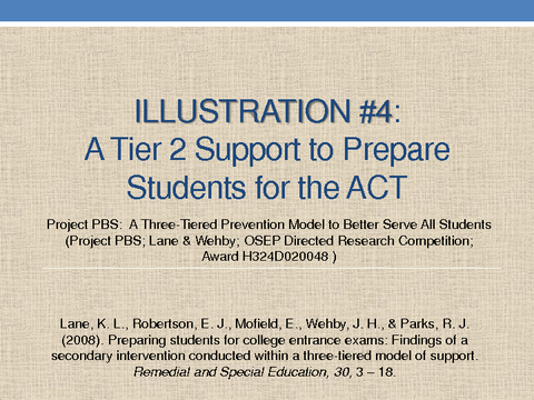 A Tier 2 Support to Prepare Students for the ACT
