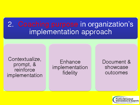 Coaching purpose in organization's implementation approach