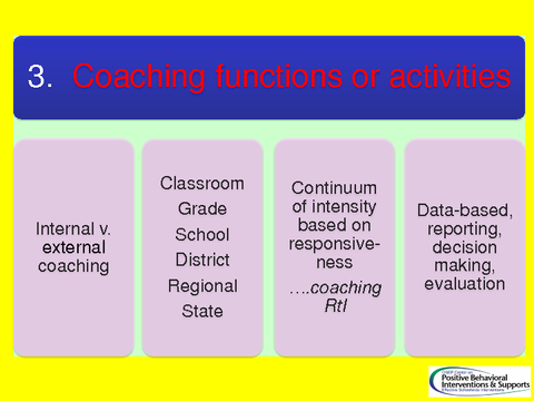 Coaching functions or activities