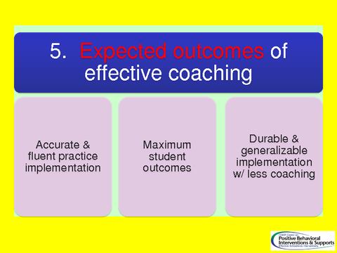 Expected outcomes of effective coaching