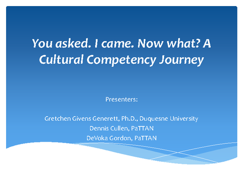 You asked. I came. Now what? A Cultural Competency Journey