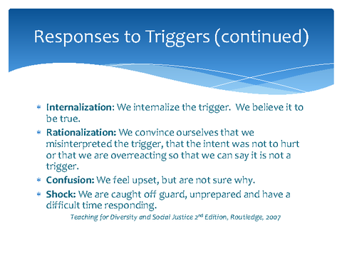 Responses to Triggers (continued)