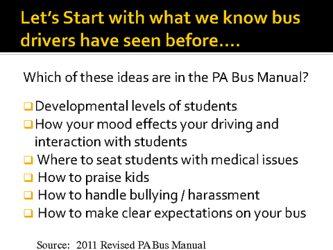 let's start with what we know bus drivers have seen before