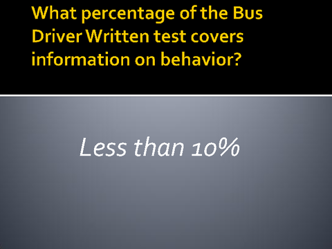 What percentage of the bus driver written test covers information on behavior