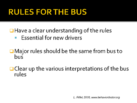 rules for the bus