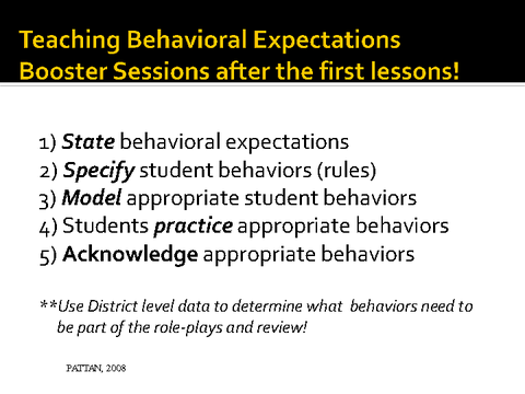 teaching the behavioral expectations booster sessions after the first lessons