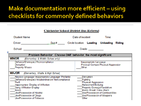make documentation more efficient - using checklists for commonly defined
