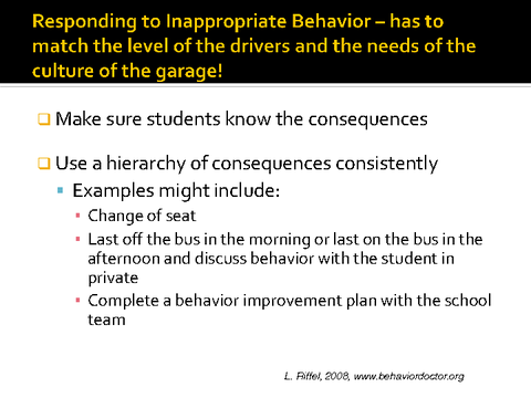 responding to inappropriate behavior